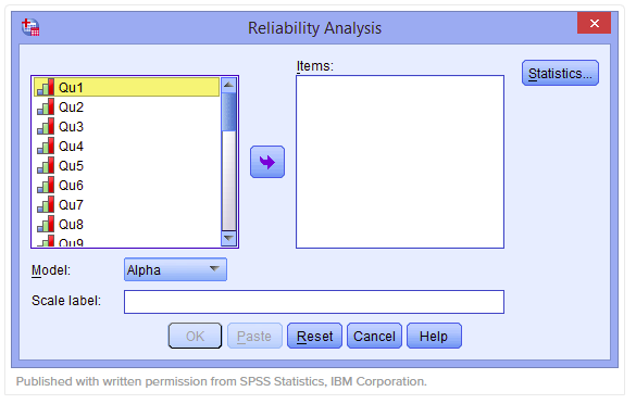 Hộp thoại Reliability Analysis