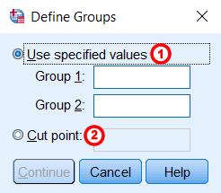 Hình ảnh independent samples t test window define group