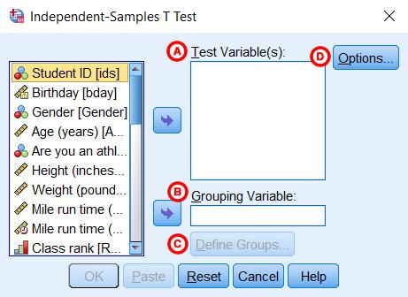 Hình ảnh independent samples t test window