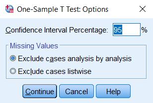 Hình ảnh one sample t test window options
