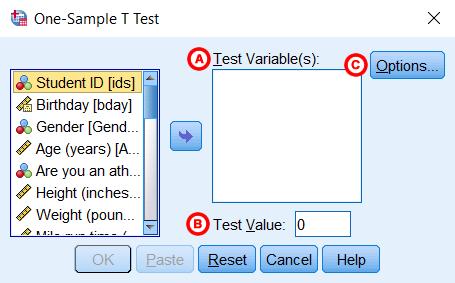 Hình ảnh one sample t test window