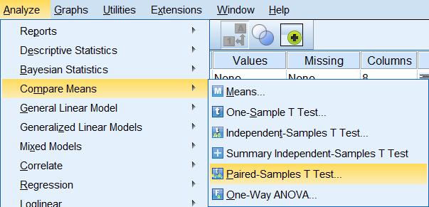 Tiến hành chạy kiểm định Paired Sample T Test